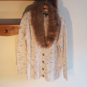 Lane Bryant detachable faux fur collar sweater.
